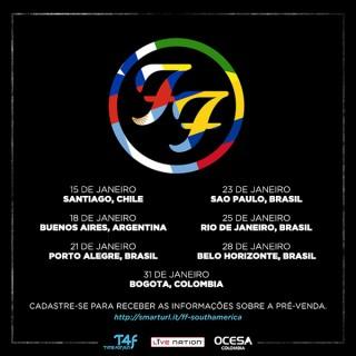 Foo Fighters - Cartaz da Turnê pela América do Sul em 2015 - Reprodução