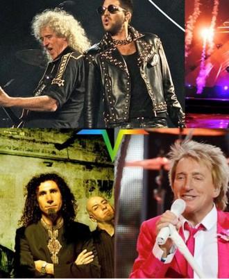 Queen + Adam Lambert, System of a Down e Rod Stewart - Foto: Montagem Divulgação