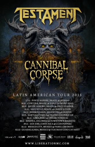 Cartaz da Turnê pela América do Sul do Testament com o Cannibal Corpse - Foto: Reprodução