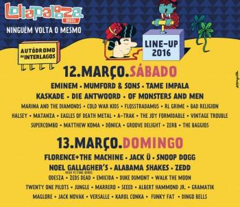 Lollapalooza - Cartaz de divulgação da edição de 2016