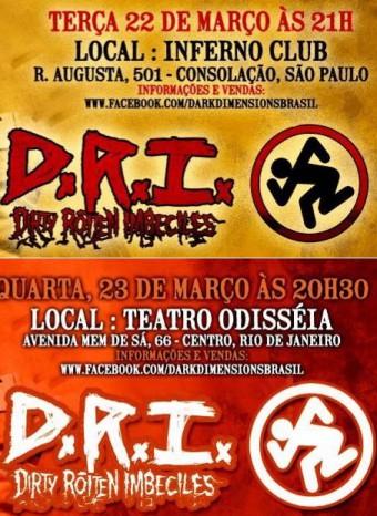 D.R.I. - Reprodução de Cartazes dos shows de SP e do Rio
