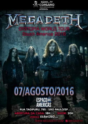 Megadeth - Reprodução do cartaz do show em SP