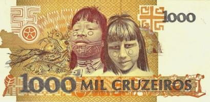 """Verso da cédula de 1.000 cruzeiros que tem a figura inspiradora da capa de """"Roots"""" - Foto: Reprodução"""