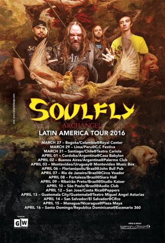Soulfly - Reprodução do Cartaz da Turnê na América Latina em 2016