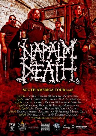 Napalm Death - Reprodução do cartaz da turnê na América do Sul