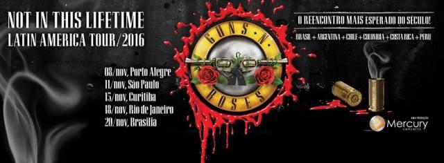 Guns N' Roses no Brasil 2016 - Reprodução de cartaz de Divulgação da Mercury Concerts