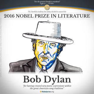 Bob Dylan em selo comemorativo do Prêmio Nobel