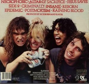 """Reprodução da contracapa do disco """"Reign in Blood"""", do Slayer"""
