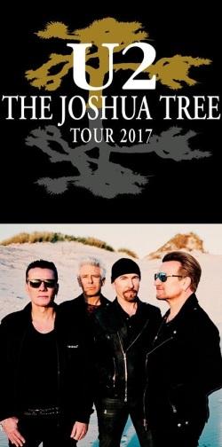 """U2 - Foto de divulgação junto com o cartaz de divulgação da turnê de 30 anos do álbum """"The Joshua Tree"""""""