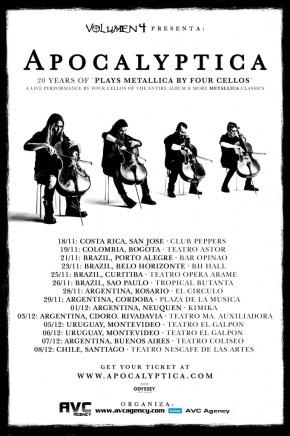 Apocalyptica - Cartaz da Turnê pela América Latina