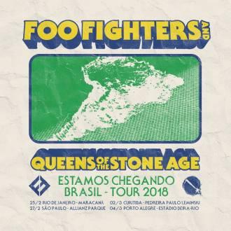 Foo Fighters e QoTSA no Brasil - Reprodução do cartaz de divulgação