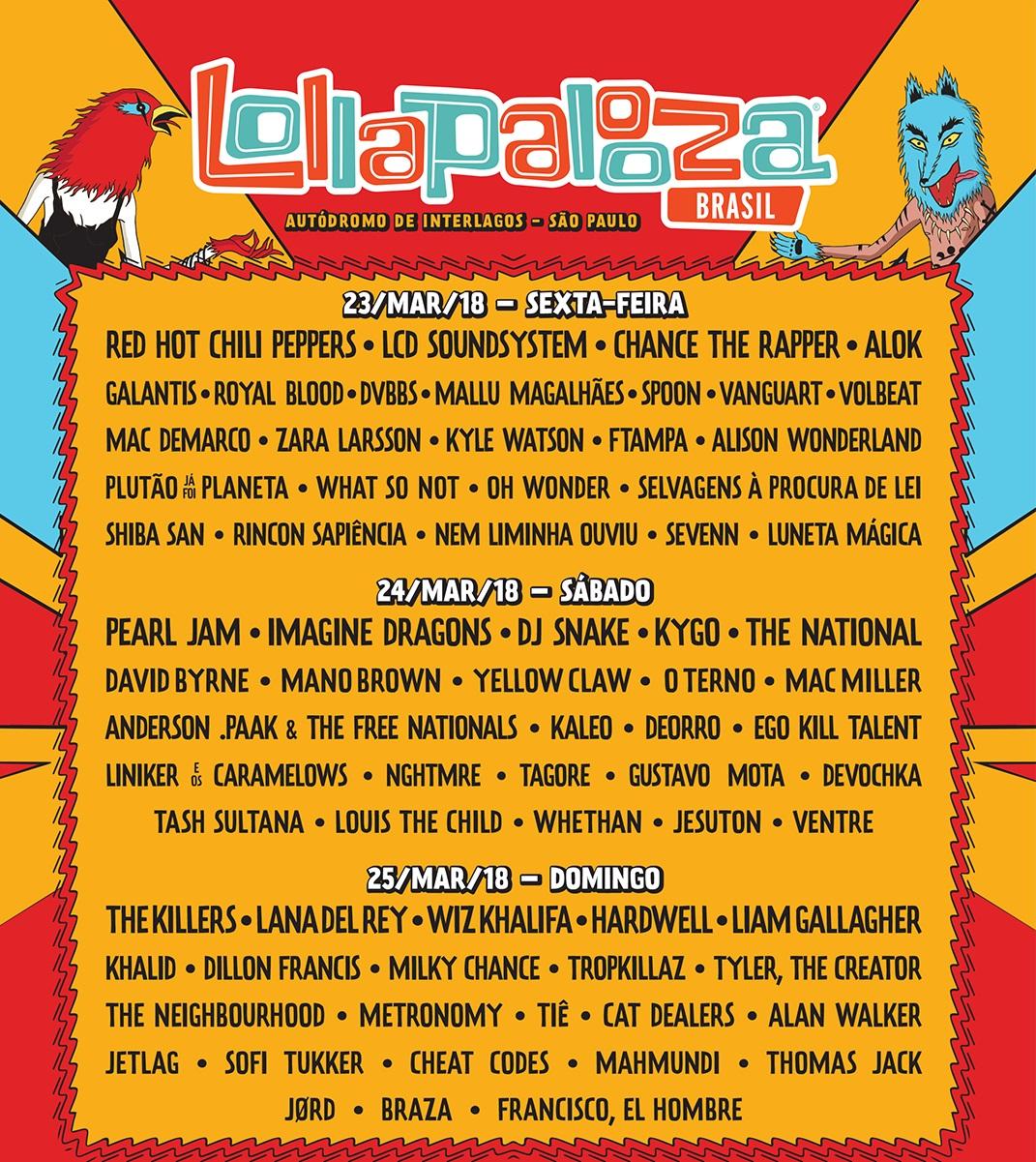 Lollapalooza 2018 - Reprodução do cartaz de divulgação e2c747f2804