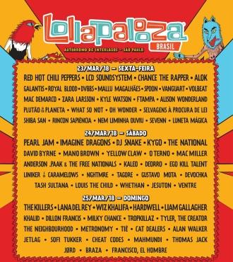 Lollapalooza 2018 - Reprodução do cartaz de divulgação