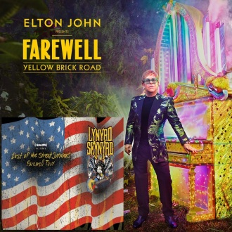 Junção dos banners das turnês de Elton John e Lynyrd Skynyrd