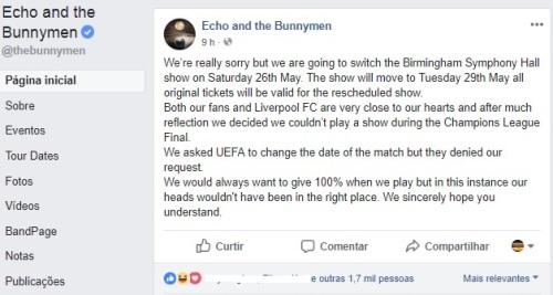 Reprodução da postagem do Echo sobre o adiamento do show