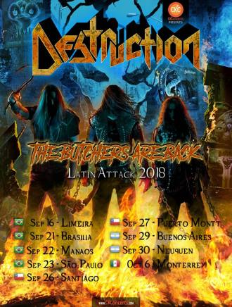 Destruction - Reprodução do Cartaz da turnê pela América Latina