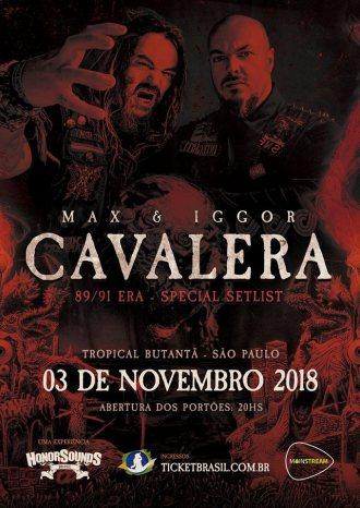 Max e Igor Cavalera no Brasil - Reprodução do cartaz do show em SP