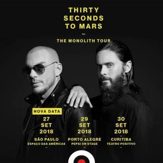 Thirty Seconds to Mars no Brasil - Reprodução de cartaz do show
