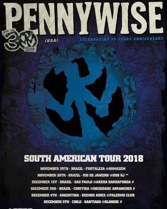 Pennywise - Reprodução do cartaz da turnê sul-americana de 2018