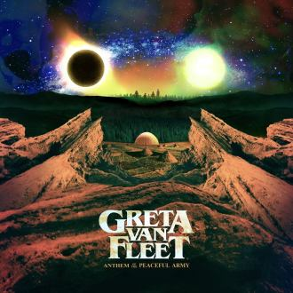 "Greta Van Fleet - Reprodução da capa do disco ""Anthem of The Peaceful Army"""