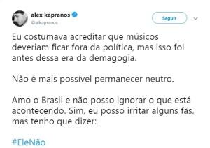 Reprodução da mensagem de Alex Kapranos no Twitter